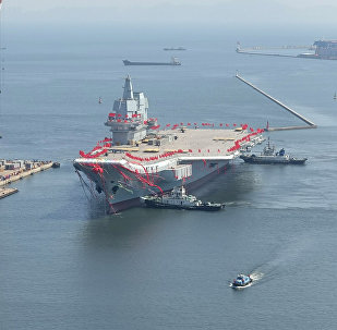 China's first domestically built aircraft carrier is seen during its launching ceremony in Dalian, Liaoning province, China, April 26, 2017