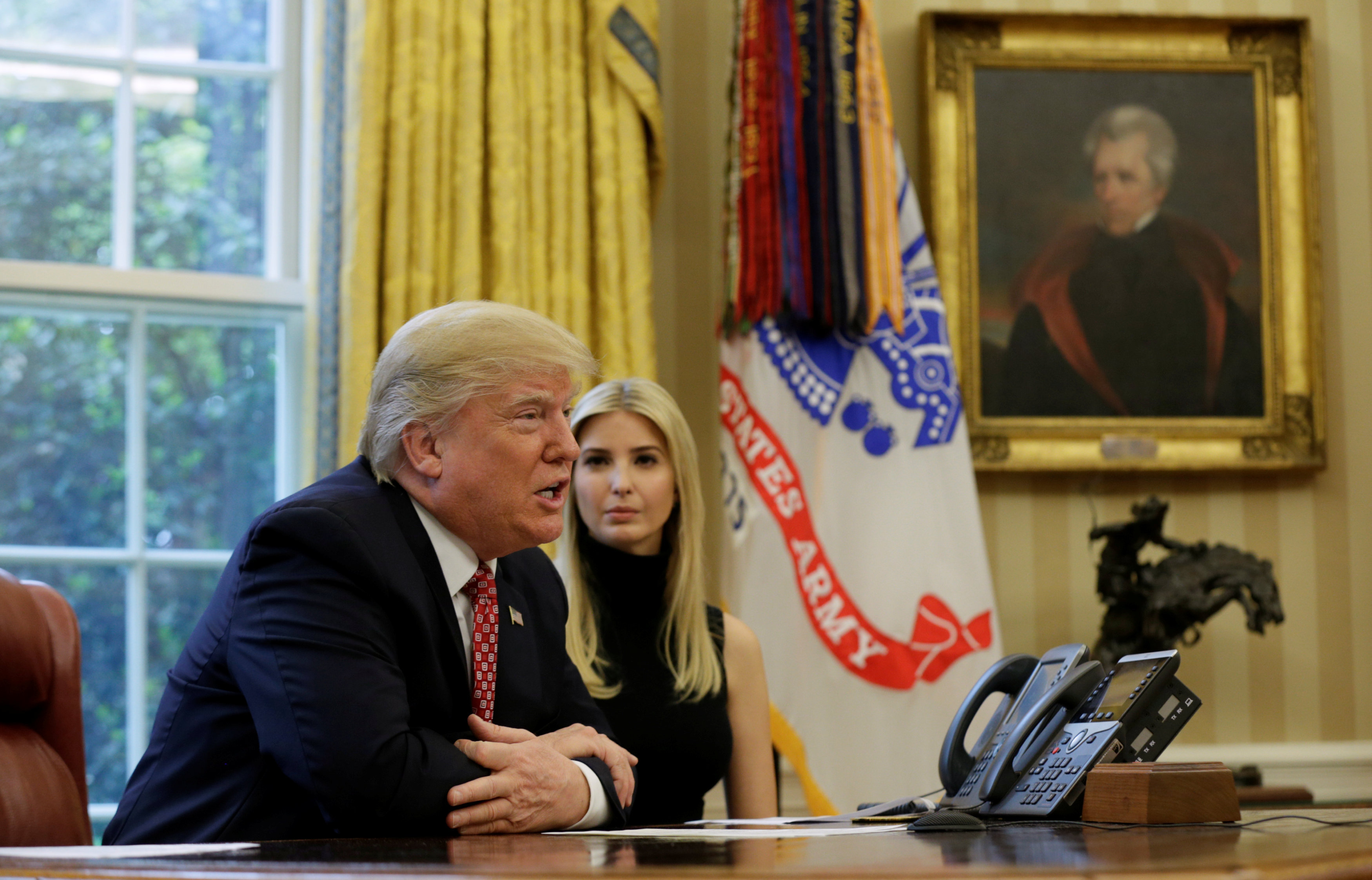 U.S. President Donald Trump and his daughter Ivanka hold a video conference call with Commander Peggy Whitson and Flight Engineer Jack Fischer of NASA on the International Space Station from the Oval Office of the White House in Washington, U.S., April 24, 2017