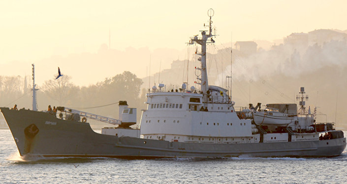 Russian Navy's reconnaissance ship Liman of the Black Sea fleet sails in the Bosphorus, on its way to the Mediterranean Sea, in Istanbul, Turkey, November 18, 2015