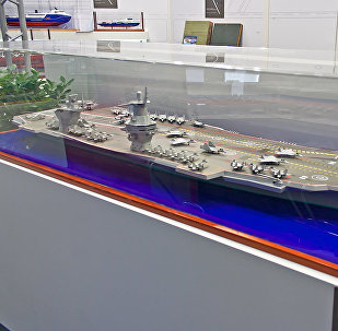 Model of the Project 23000E 'Shtorm', Russia's prospective new carrier design