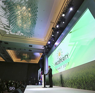 Thailand's Prime Minister Prayuth Chan-ocha delivers his speech at the Prosperity For All Summit, the parallel event of the 30th ASEAN Leaders' Summit at metropolitan Manila, Philippines on Friday, April 28, 2017