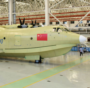 Amphibious aircraft AG600 rolls off a production line in Zhuhai, south China's Guangdong Province.