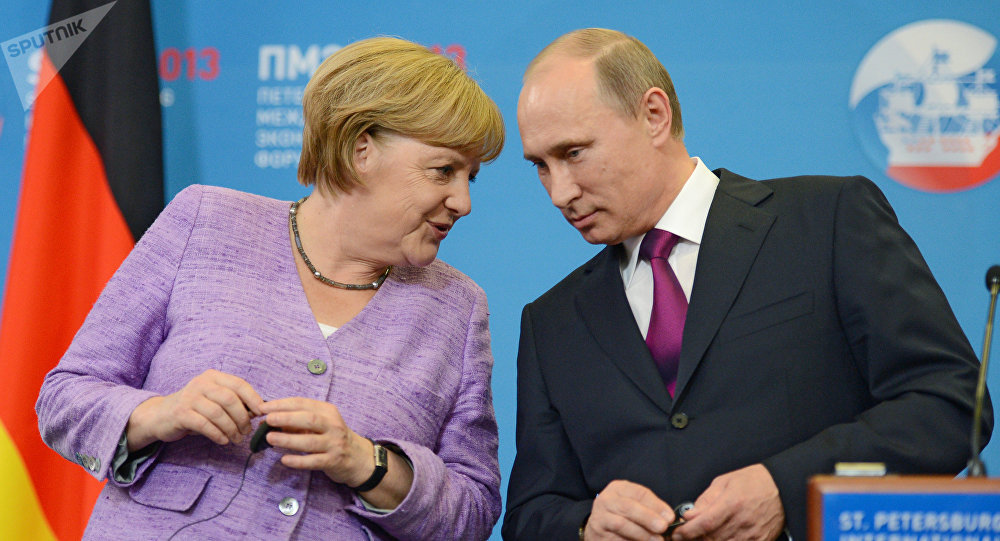 Press conference of Vladimir Putin and Angela Merkel
