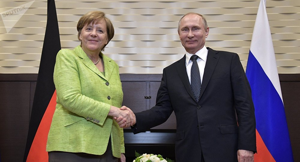 May 2, 2017. Russian President Vladimir Putin meets with German Federal Chancellor Angela Merkel.