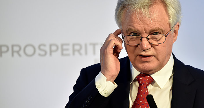 Britain's Secretary of State for leaving the EU David Davis speaks at the Prosperity UK 2017 conference in London, April 26, 2017