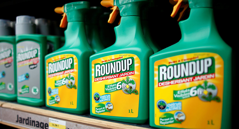 Monsanto's Roundup weedkiller atomizers are displayed for sale at a garden shop at Bonneuil-Sur-Marne near Paris, France, June 16, 2015.