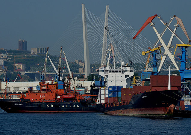 Ships near a pier in Zolotoi Rog Bay in Vladivostok