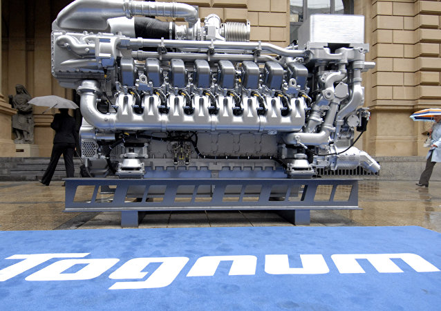 (File) A MTU engine is seen in front of the stock exchange during the IPO of German diesel engine producer Tognum in Frankfurt, Germany, Monday, July 2, 2007