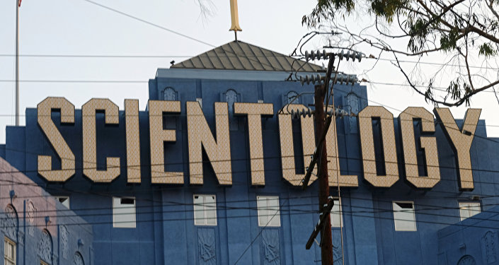 The Scientology Cross is perched atop the Church of Scientology in Los Angeles on Thursday, Aug. 25, 2016.
