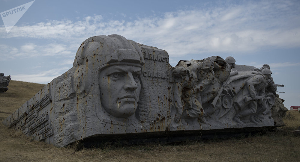 Ruins of the Saur-Mogila (Saur Grave) Memorial in Donetsk Region where festive events were held to celebrate the Day of Donbass Liberation from Nazi Invaders.
