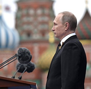 Russian President Vladimir Putin speaks during the Victory Day military parade marking the World War II anniversary at Red Square in Moscow.