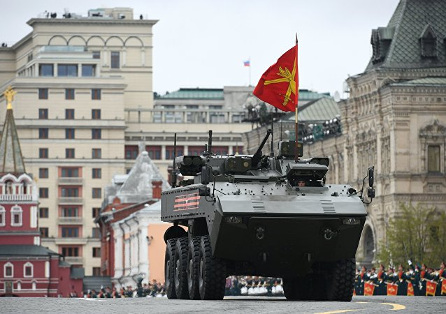 The Bumerang amphibious wheeled infantry fighting vehicle seen during the  Victory Day parade to mark the 72nd anniversary of victory in the Great Patriotic War on Red Square, Moscow.