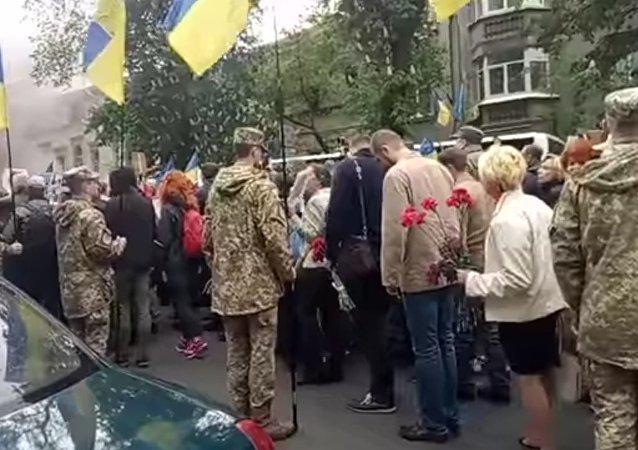 Participants in the Immortal Regiment march in Kiev