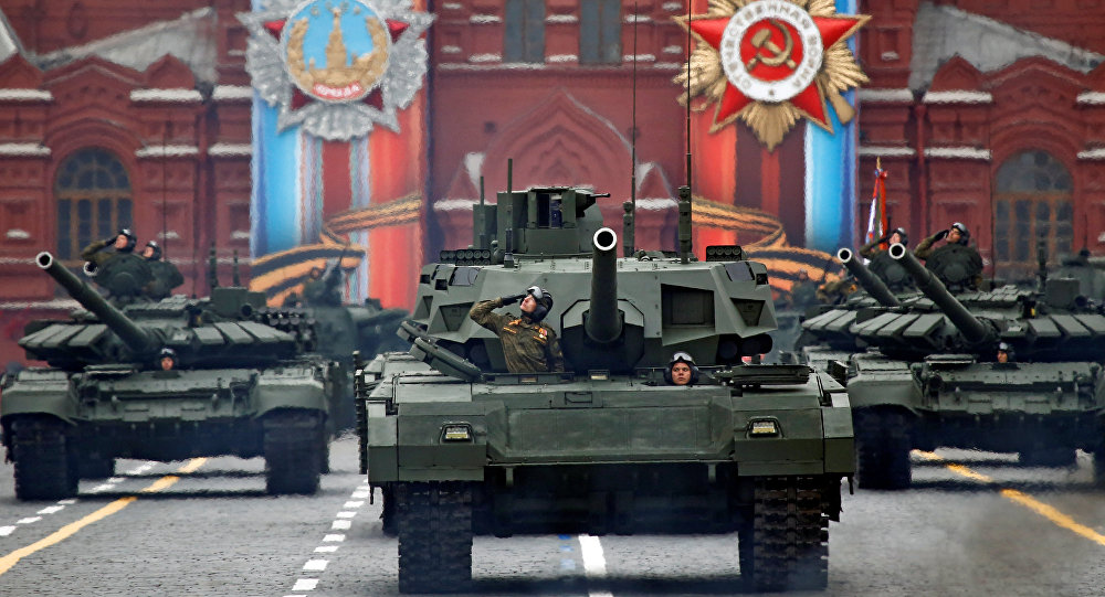 Moscow - Russia - 09/05/2017 - Russian servicemen parade with tanks during the 72nd anniversary of the end of World War II on the Red Square in Moscow.