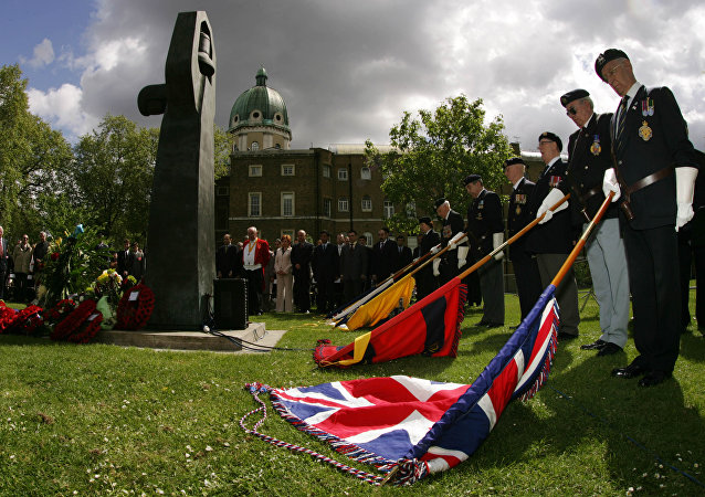 British standard barers hold their flags on the ground during a two minute silence during a VE commemoration ceremony at the Soviet War memorial at the Imperial War Museum in London. (File)