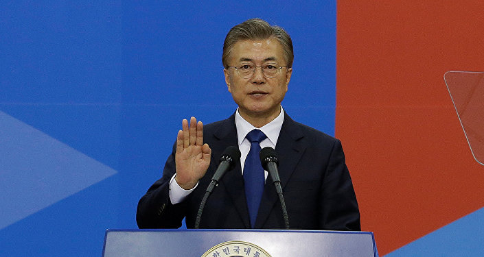 Newly elected South Korean President Moon Jae-in takes an oath during his inauguration ceremony at the National Assembly in Seoul, South Korea, May 10, 2017.