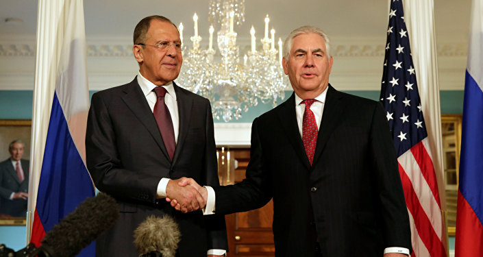 U.S. Secretary of State Rex Tillerson (R) shakes hands with Russian Foreign Minister Sergey Lavrov before their meeting at the State Department in Washington, U.S., May 10, 2017.