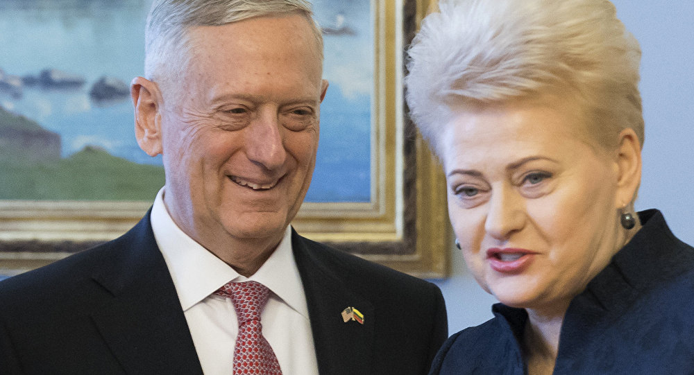 US Secretary Secretary of Defense James Mattis and Lithuanian President Dalia Grybauskaite