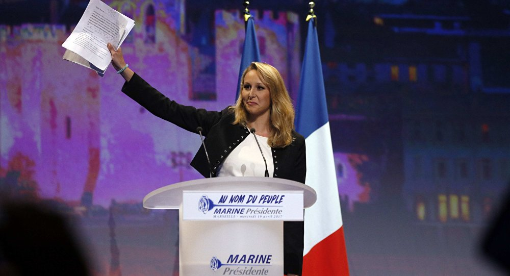 Marion Marechal-Le Pen, French National Front political party deputy, attends a political rally as she campaigns for Marine Le Pen, French National Front (FN) political party leader and candidate for the French 2017 presidential election, in Marseille, France, April 19, 2017