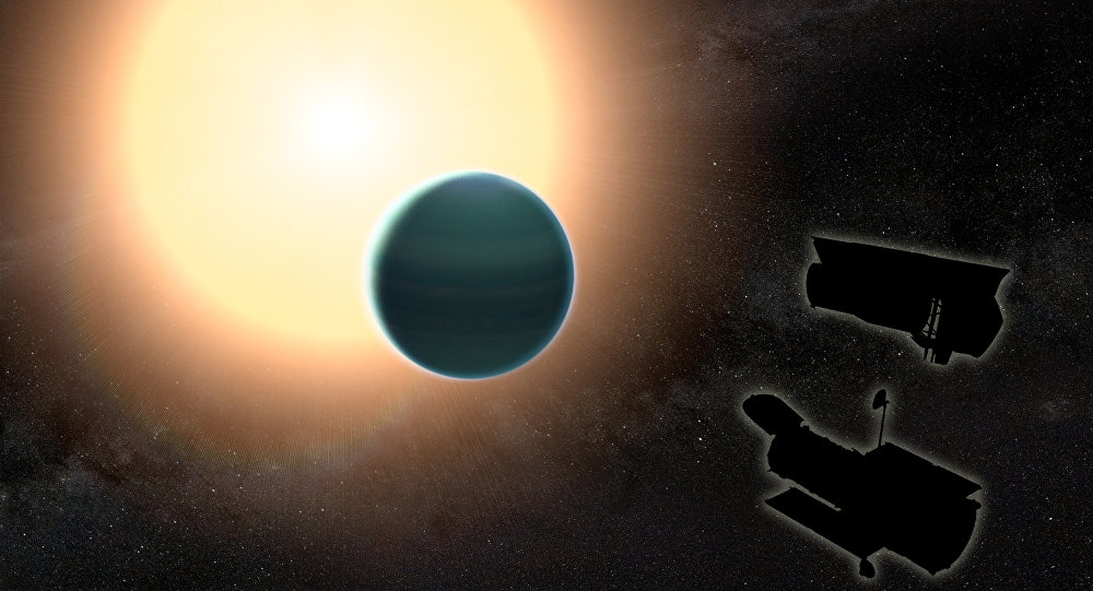The atmosphere of the distant warm Neptune HAT-P-26b, illustrated here, is unexpectedly primitive, composed primarily of hydrogen and helium.