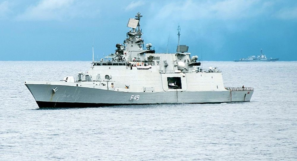 Indian Navy Shivalik-class stealth multi-role frigate INS Sahyadri (F49) (File)