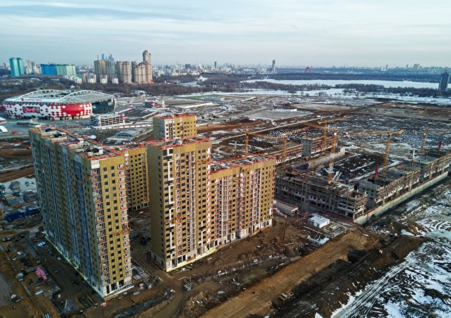 Construction of the residential buildings on the territory of former Tushino airfield in Moscow. File photo