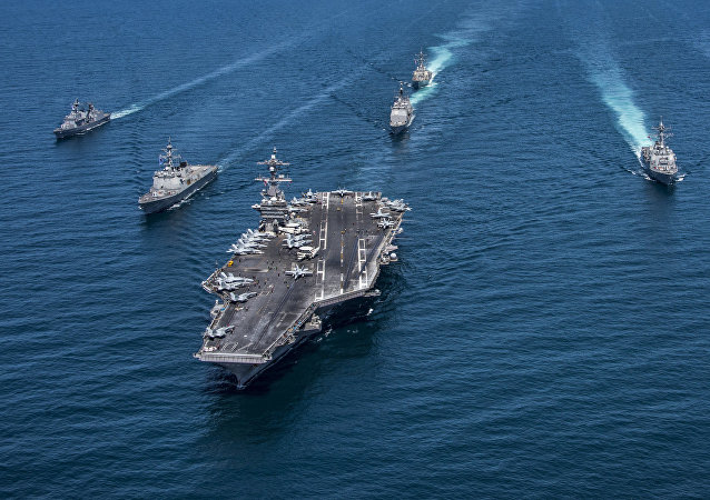 The Nimitz-class aircraft carrier USS Carl Vinson, escorted by US and South Korean warships. File photo