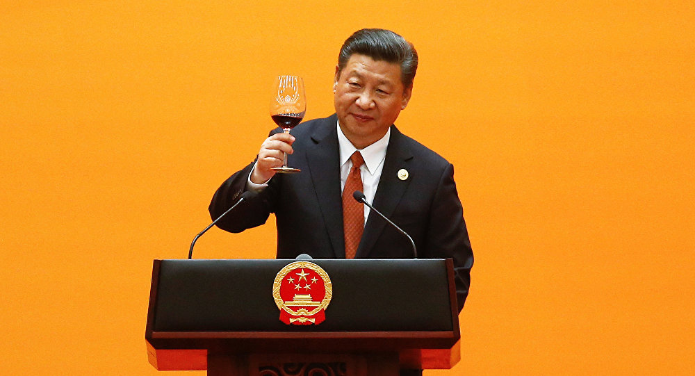 Chinese President Xi Jinping makes a toast at the beginning of the welcoming banquet at the Great Hall of the People during the first day of the Belt and Road Forum in Beijing, China, 14 May, 2017