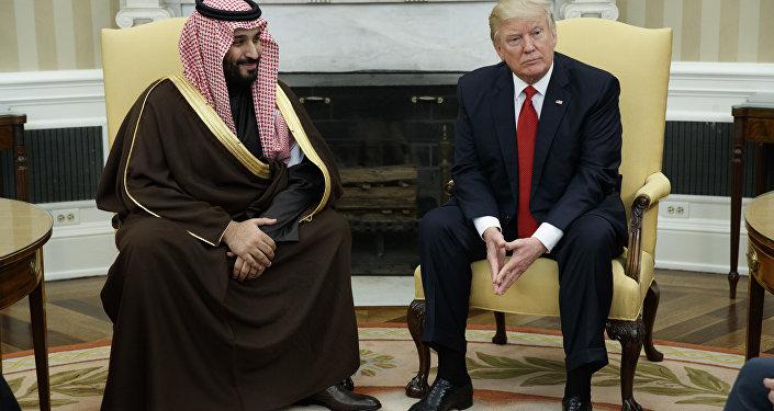 President Donald Trump meets with Saudi Defense Minister and Deputy Crown Prince Mohammed bin Salman bin Abdulaziz Al Saud in the Oval Office of the White House in Washington