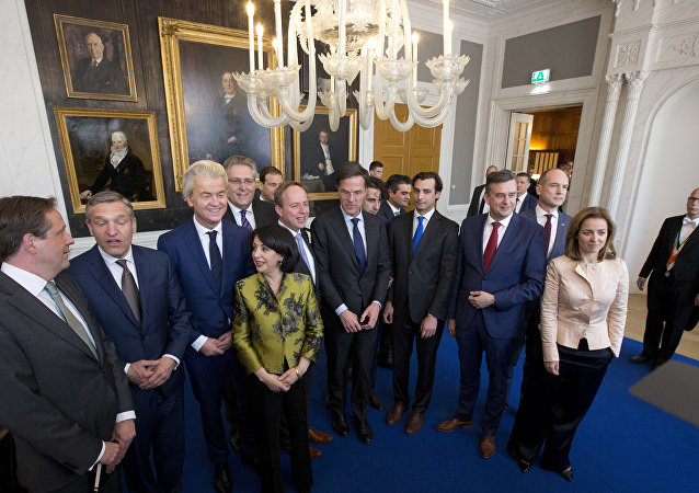Dutch political party leaders pose for a group picture in The Hague, Netherlands, Thursday, March 16, 2017.