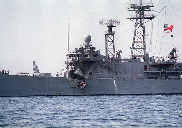 A picture taken 17 May 1987 of American navy frigate USS Stark which was hit by two Exocet missiles fired from an Iraqi Super-Etendard fighter during the Iran-Iraq war.
