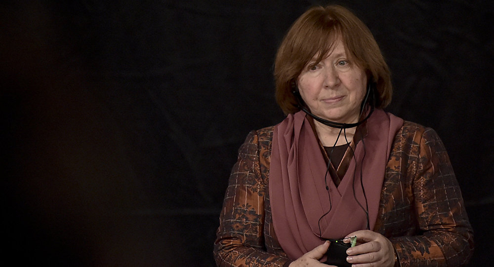 Belarusian journalist Svetlana Alexievich - 2015 Nobel prize in Literature - attends the inauguration of the XXIX International Book Fair of Bogota on April 19, 2016 in Bogota.