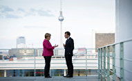 German Chancellor Angela Merkel and French President Emmanuel Macron meet at the Chancellery in Berlin, Germany May 15, 2017
