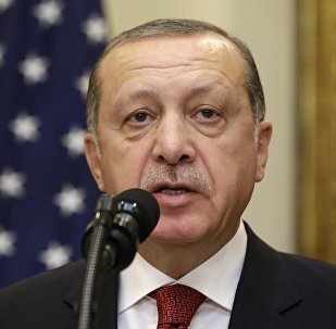 Turkey's President Recep Tayyip Erdogan delivers a statement to reporters alongside U.S President Donald Trump after their meeting at the White House in Washington, U.S. May 16, 2017.