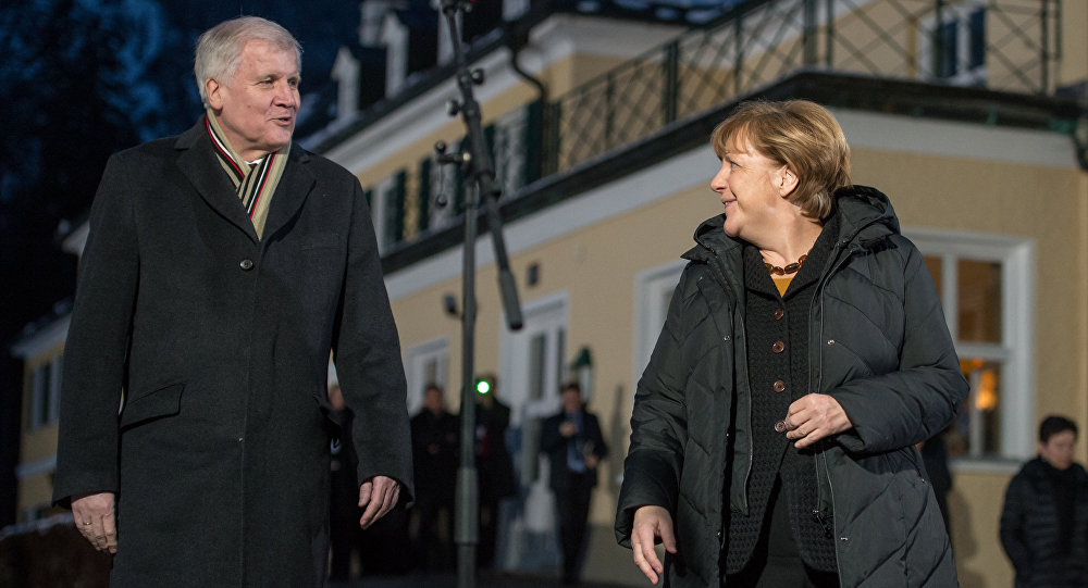 Christian Social Union Party , CSU, party leader and Bavarian governor, Horst Seehofer, left, and German Chancellor and head of the German Christian Democrats (File)