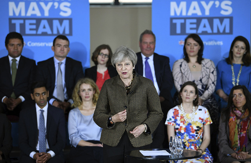 Britain's Prime Minister Theresa May speaks at the Dhamecha Lohana Centre in north west London, where she is meeting Conservative party general election candidates from across London and the south east of England, Monday May 8, 2017. Britain will hold a general election on June 8