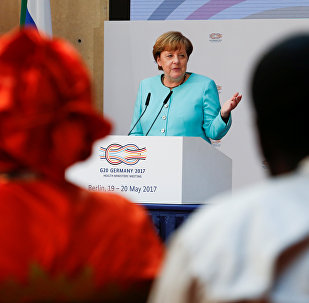 German Chancellor Angela Merkel gives a speech at the meeting of the G20 health ministers in Berlin, Germany, May 19, 2017.