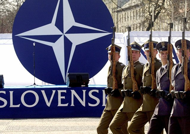 Members of a honor guard present arms in front of the NATO logo during a ceremony to mark the country's entry into the military alliance. File photo
