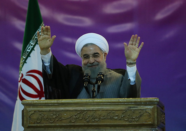 Iran's President Hassan Rouhani gestures during a ceremony celebrating International Workers' Day, in Tehran, Iran, May 1, 2017
