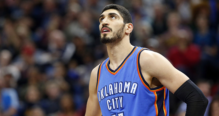 Oklahoma City Thunder's Enes Kanter of Turkey plays during the second half of an NBA basketball game against the Minnesota Timberwolves Tuesday, April 11, 2017, in Minneapolis.