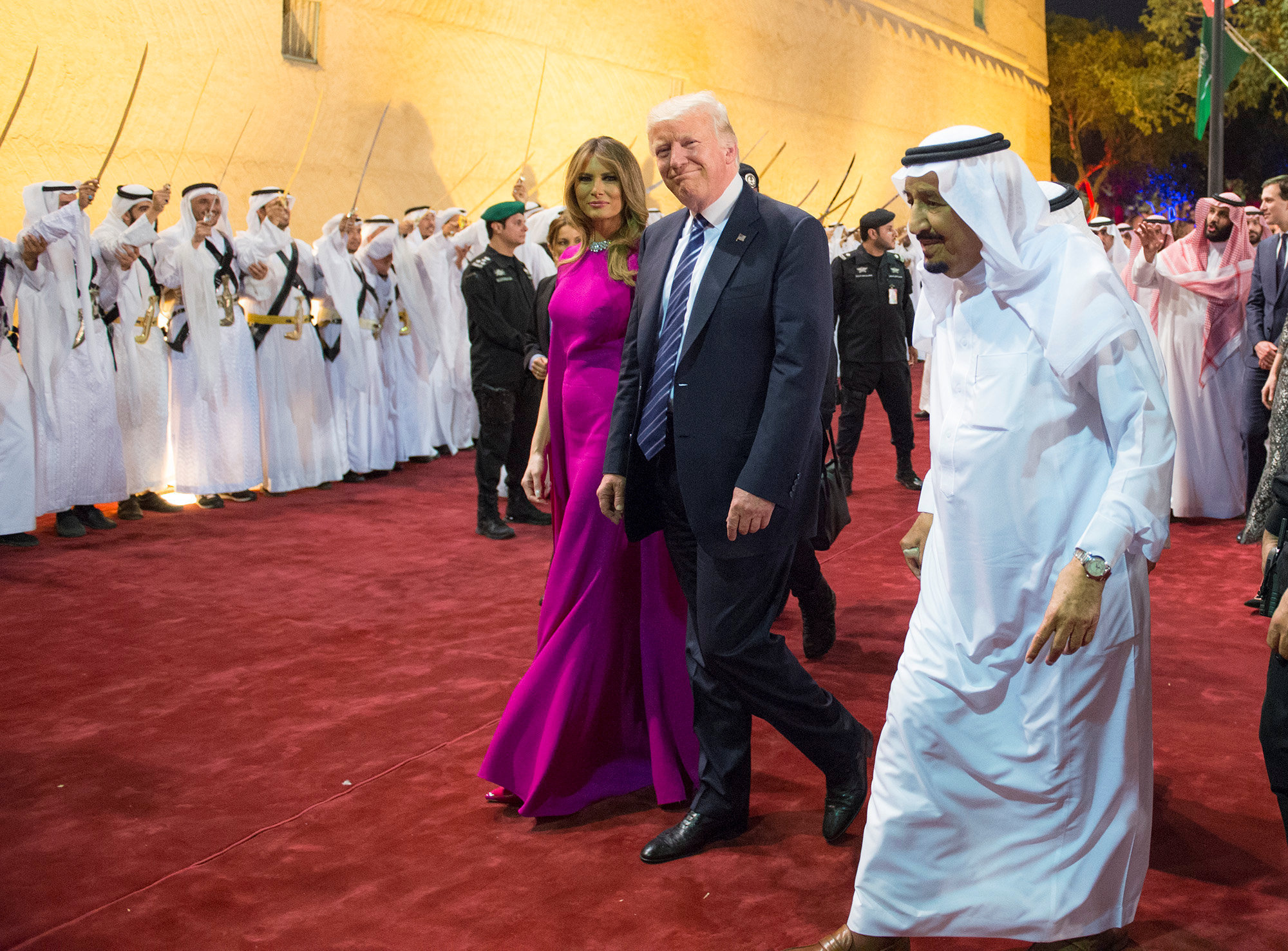 US President Donald Trump and first lady Melania Trump are welcomed by Saudi Arabia's King Salman bin Abdulaziz Al Saud at Al Murabba Palace in Riyadh, Saudi Arabia May 20, 2017. Picture taken May 20, 2017