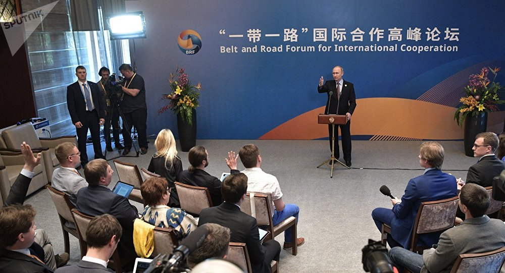 May 15, 2017. Russian President Vladimir Putin during a media scrum with the Russian press following his participation in the Belt and Road Forum for International Cooperation