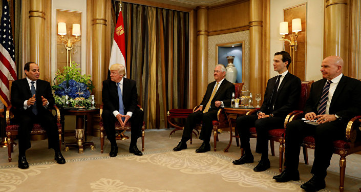 .S. President Donald Trump (2-L), flanked by Secretary of State Rex Tillerson (3-R), Senior Advisor Jared Kushner (2-R) and National Security advisor H.R. McMaster (R), meets with Egypt's President Abdel Fattah al-Sisi (L) in Riyadh, Saudi Arabia May 21, 2017