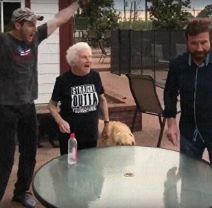 Chuck Norris Flips Water Bottle with Grandma