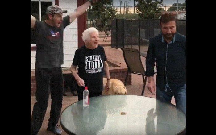 Chuck Norris Flips Water Bottle with Grandma