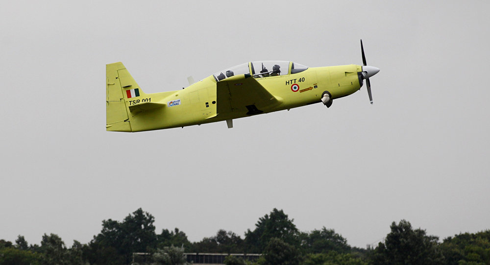 India's indigenous prototype trainer aircraft, HTT-40 (Hindustan Turbo Trainer 40), takes its inaugural flight at Hindustan Aeronautics Limited airstrip in Bangalore, India, Friday, June 17, 2016
