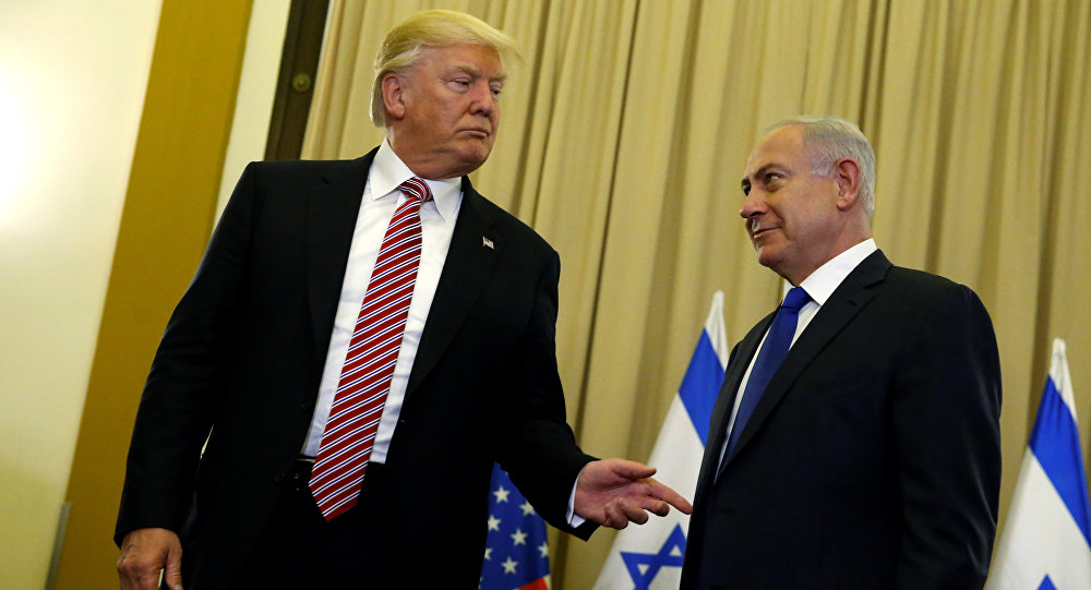 US President Donald Trump (L) and Israel's Prime Minister Benjamin Netanyahu speak to reporters before their meeting at the King David Hotel in Jerusalem May 22, 2017