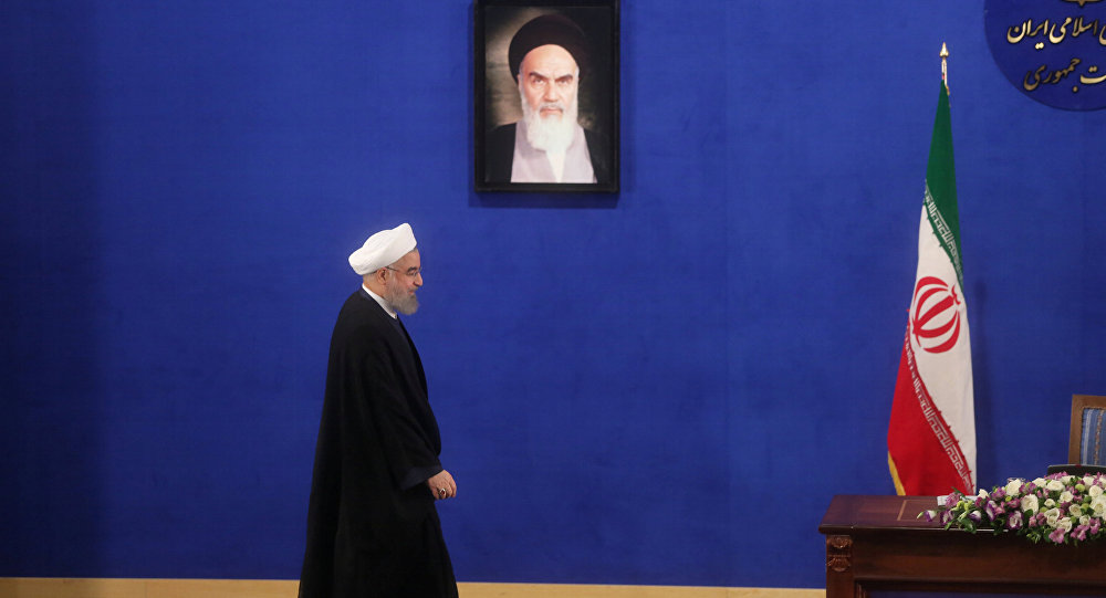 Iranian president Hassan Rouhani arrives for a news conference in Tehran, Iran, May 22, 2017.