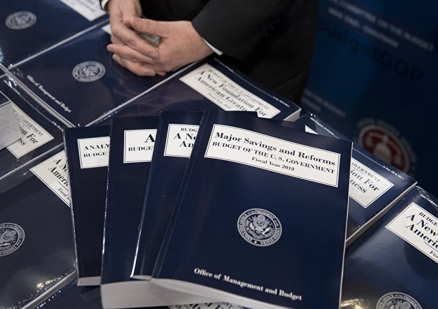 Copies of US President Donald Trump's Fiscal Year 2018 budget are released for distribution on Capitol Hill in Washington, DC