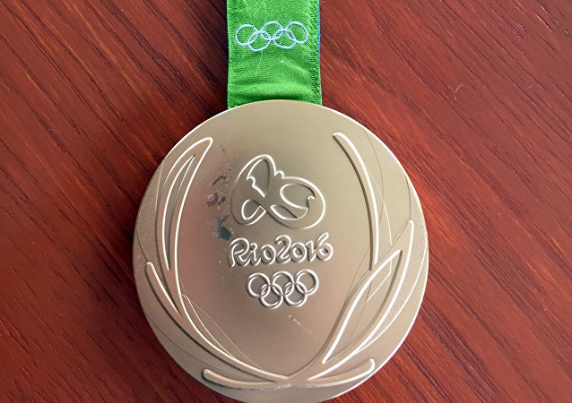 Kyle Snyder's damaged gold metal from the 2016 Rio Olympics on Tuesday, May 23, 2017, in Maryland.